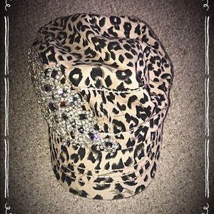 Leopard and rhinestone baseball cap